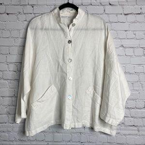 Bryn Walker 100% Linen Boxy Button Down Top Jacket